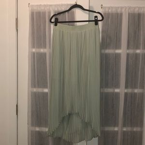 Pleated seafoam green high-low skirt